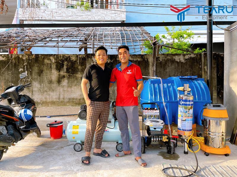 Bàn giao thiết bị rửa xe cho anh Nam ở Sơn Trà - Đà Nẵng
