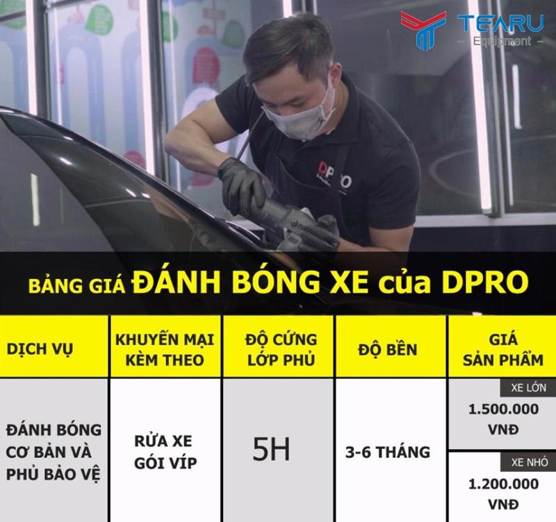 Bảng giá đánh bóng xe chuyên sâu của DPro