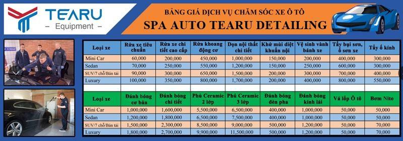Bảng giá dịch vụ chăm sóc xe ô tô tại TEARU Detailing